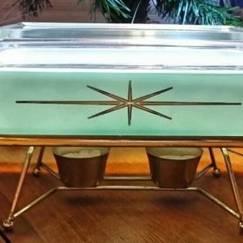 Aqua Starburst Cinderella Casserole w/ Metal Serving rack and candle burners - Kitchen