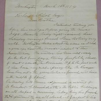March 12, 1874 letter Re: President Millard Fillmore 's Funeral - Paper