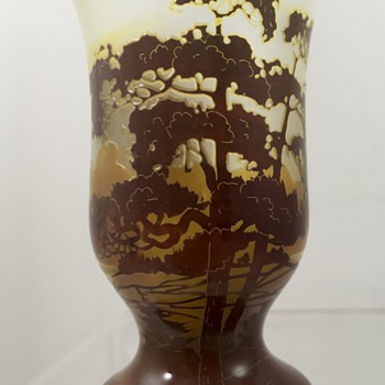 Carl Goldberg (attrib) mini cameo vase, ca. 1920 - Art Glass
