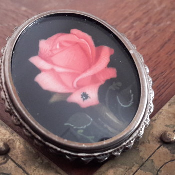 1940's/1950's hand painted rose brooch 800 silver - Fine Jewelry