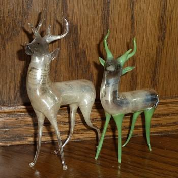 My favorite vintage Mercury glass hand blown deer figurines. - Figurines