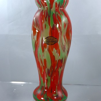 Franz Welz, Klostergrab Red Green Spotted Pinched Vase  - Art Glass