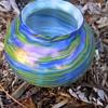 WELZ Attribution, IRIDESCENT METALLIC BLUE,YELLOW GREEN RIBBED GLASS VASE ,c 1920