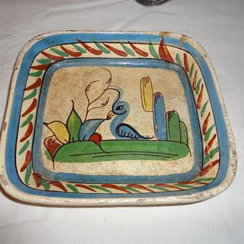 Vintage Painted Clay Bowl