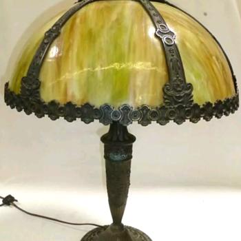Salem Brothers slag glass lamp