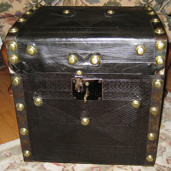 Searles & Edge Tooled Leather Covered Hat Trunk - Furniture