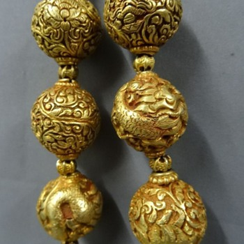 Antique silver gilt repousse beads necklace Dragons and floral? NO! MODERN GILDED BRASS! - Asian