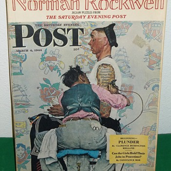 The Saturday Evening Post, Tattoo Artist by Norman Rockwell.Curtis publishing Co. 1944 Baron/Scott Enterprise, Inc. Puzzle. - Games