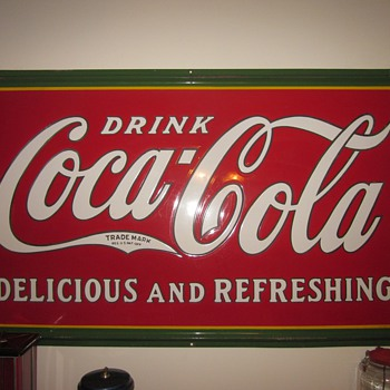 3 by 5 foot Porcelain Coca Cola Sign Dated 1932 - Advertising