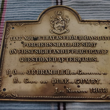 Cool early 1900s Brass Plaque