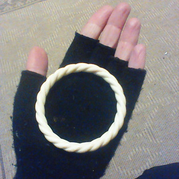 Vintage pre ban ivory rope bangle - Costume Jewelry