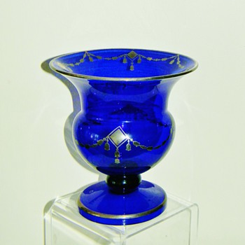 "Deco Loetz Cobalt Silver Overlay Footed Compote Vase 7"" - Art Nouveau"