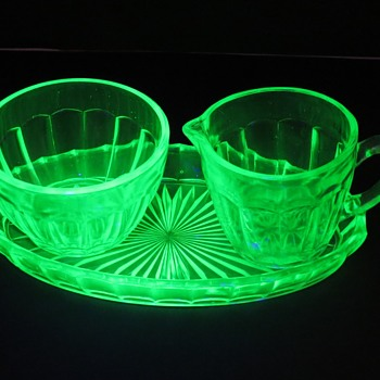 Small Uranium Glass Sugar Bowl and Jug on Tray - Glassware