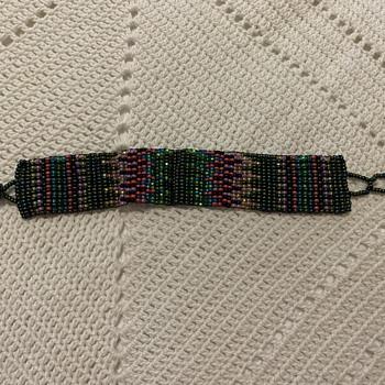 Beaded one inch cuff bracelet - Costume Jewelry
