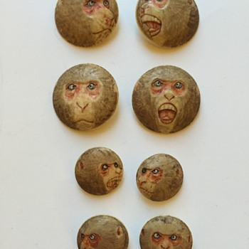 Antique Japanese Ivory Monkey Face Buttons ??? - Asian