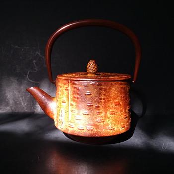 Oigen sakurahide (cherry bark) themed cast iron kyusu - Asian