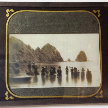 Unknown Location 1800'S Glass Plate Negative California Coast Sun Bathers - Photographs