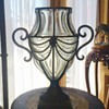 Antique French Glass Caged Mounted Footed Vase