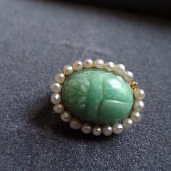14 Karat Gold Scarab And Seed Pearl Pin