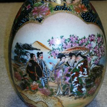 Japanese Ceramic Painted    Shaped Egg - Asian