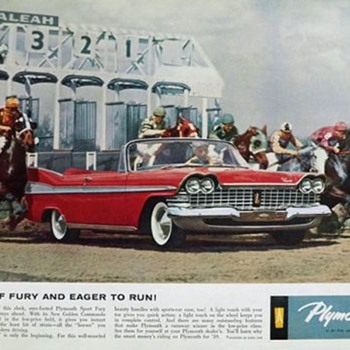 1959 Magazine add for a Plymouth Fury at Hialeah  Race Course...... - Advertising