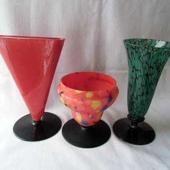 The Fascinating Black Glass Czech Applied Flat Foot - Art Glass
