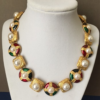 My favorite Anne Klein Necklace of Faux Pearls and Enamel - Costume Jewelry