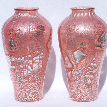 Loetz Rosa Argentan Pair - A Once In A Lifetime Find!!   - Art Glass