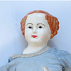 """Antique China Doll 22"""" red hair"""