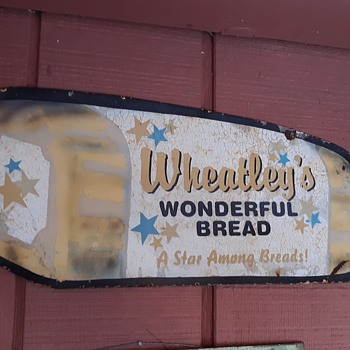 Wheatley's Wonderful Bread Tin Sign Bread Shaped Sign - Signs
