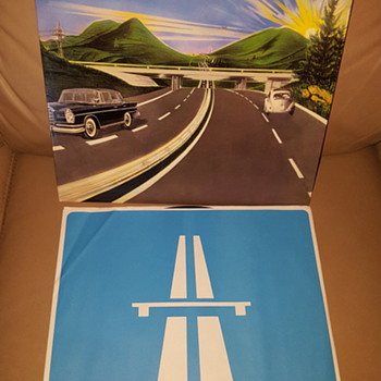 "Kraftwerk Autobahn 12"" LP on WB black/silver label with blue white icon sleeve (Sterling Sound? Edition?)"
