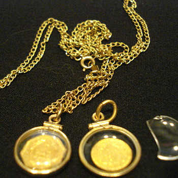 12KT Gold Chain with Pendants - Fine Jewelry