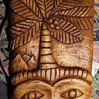 Interesting and Beautiful Face Carved Mahogany Piece by D. Mitchel in St. Lucia - Folk Art