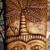 Interesting and Beautiful Face Carved Mahogany Piece by D. Mitchel in St. Lucia