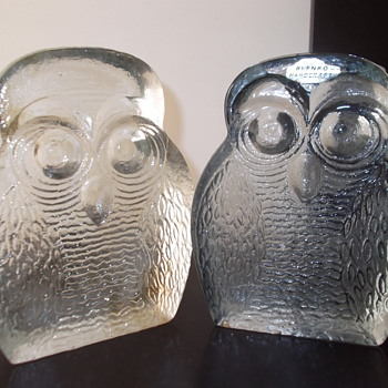 Blenko owl bookends - Art Glass