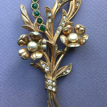 Old Unsigned Coro Rhinestone Flower Brooch - Costume Jewelry