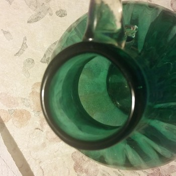 Fenton? Hand blown ribbed pitcher - Glassware