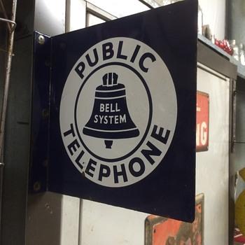 1940's Porcelain Bell System Public Telephone flange sign - Telephones