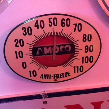 AMOCO Anti-Freeze porcelain thermometer...1940's - Signs