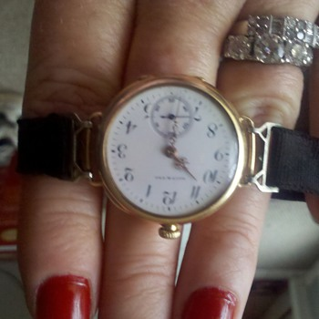 Family Heirloom.1910 Galt & Bros. Ladies Gold watch, Ruby jeweled with original ribbon band and sterling clasp.