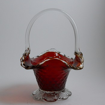 Red Cranberry Glass Basket, 20 Century  - Art Glass