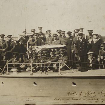Allied Chaplins Photograph 1921 On British Destroyer - Photographs