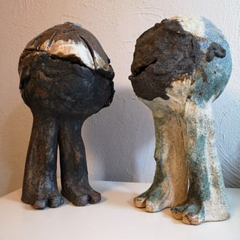 Two so called rock hoppers  by Lotte Glob - Pottery