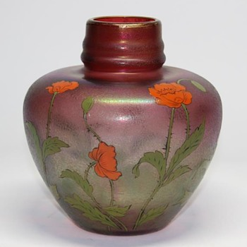 Fritz Heckert Iridescent Vase with Enameled Poppies - Art Glass