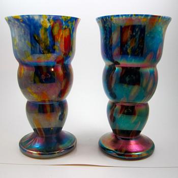 Kralik Flashed Millefiori Pair - Art Glass
