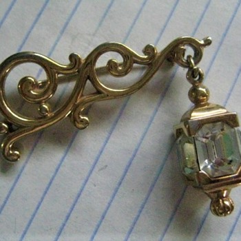 Vintage Signed Pennino Dangle Lamp Crystal Brooch Pin - Costume Jewelry