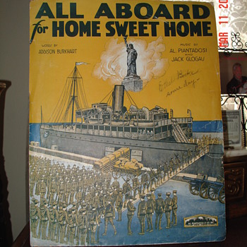 Sheet Music Cover...All Aboard For Home Sweet Home...Sign By One Of The Prolific Starmer Brothers - Music Memorabilia