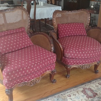 My great grandparents chairs that I had recanned and reupholstered. - Furniture