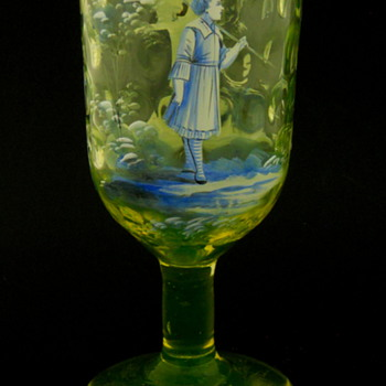 Mary Gregory Vaseline Glass (Uranium) Chalice - Glassware
