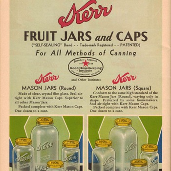 1933-34 Kerr Canning Jars & Lids - Bottles